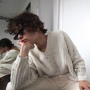 Cream chenille chunky knit v-neck sweater